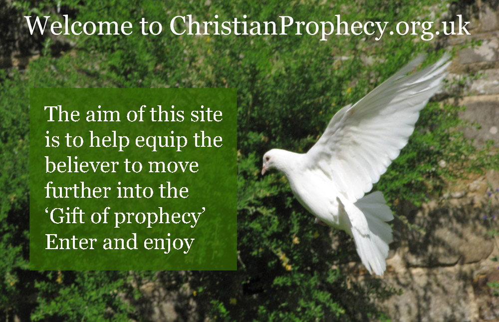 Image of a white dove flying with the text 'The aim of this site is to help eqip the believer to move further into the 'Gift of prophecy' enter and enjoy